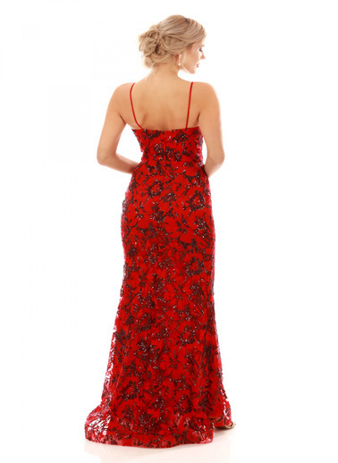 Pierre Cardin Payetli Askılı Uzun Abiye Elbise Kırmızı